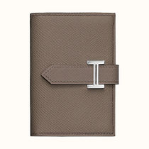 HERMES Bearn Plain Leather Folding Wallet Logo Folding Wallets