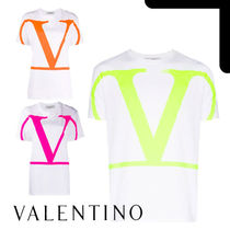 VALENTINO Crew Neck Cotton Short Sleeves Logo T-Shirts
