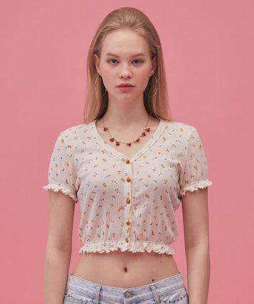 Short Flower Patterns Casual Style Street Style Cotton