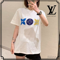 Louis Vuitton MONOGRAM Crew Neck Short Monogram Street Style Plain Medium