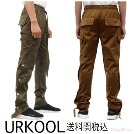 Nylon Street Style Plain Cotton Cargo Pants