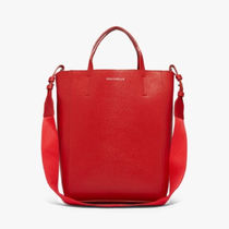 COCCINELLE Casual Style 2WAY Plain Leather Elegant Style Logo Totes