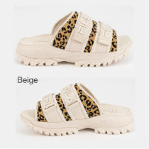 FILA Leopard Patterns Open Toe Platform Rubber Sole Unisex