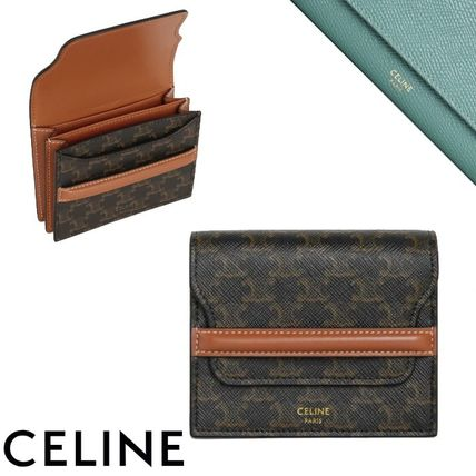 CELINE Business Card Holder In Triomphe Canvas And Lambskin