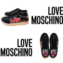Love Moschino Casual Style Leather Logo Low-Top Sneakers