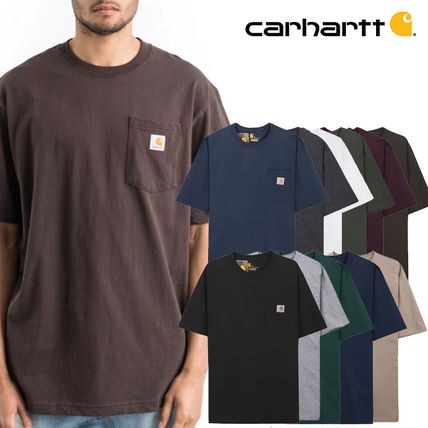 Carhartt Crew Neck Crew Neck Pullovers Unisex Street Style Cotton Short Sleeves