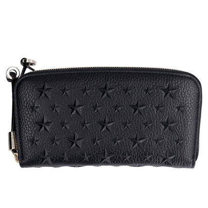 Star Studded Plain Leather Long Wallet  Logo Long Wallets