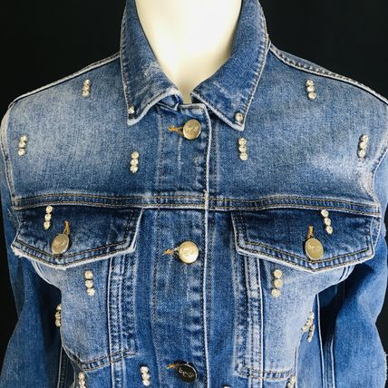 Casual Style Denim With Jewels Jackets