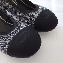 CHANEL Tweed Leather Logo Ballet Shoes
