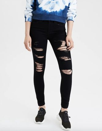 Denim Blended Fabrics Street Style Plain Cotton Skinny Jeans