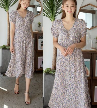 Flower Patterns Casual Style A-line Flared U-Neck Long