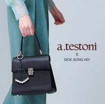 a.testoni Casual Style 2WAY Leather Office Style Crossbody