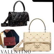 VALENTINO Casual Style Studded 2WAY Plain Leather Elegant Style
