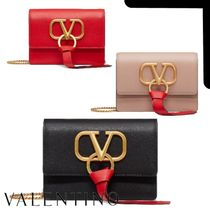 VALENTINO VRING Casual Style Calfskin Chain Plain Leather Party Style