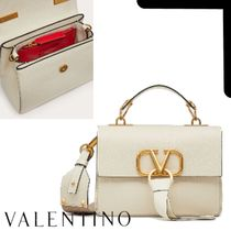 VALENTINO VRING Casual Style Calfskin Suede Plain Elegant Style Crossbody