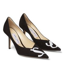 Jimmy Choo Enamel Suede Blended Fabrics Leather Pin Heels Party Style