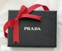 PRADA Bi-color Plain Leather Folding Wallet Small Wallet