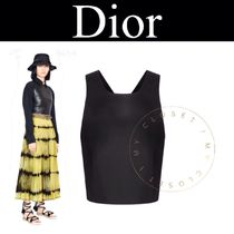 Christian Dior Casual Style Sleeveless Street Style V-Neck Plain Leather