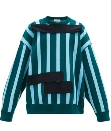 Crew Neck Pullovers Stripes Long Sleeves Cotton Sweaters