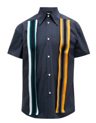 Stripes Cotton Short Sleeves Shirts