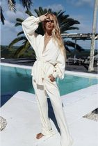 Maurie and Eve Platinum Wrap Dresses V-Neck Long Sleeves Plain Cotton Party Style