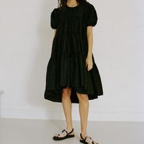 CECILIE BAHNSEN Plain Short Sleeves Puff Sleeves Tired Dresses