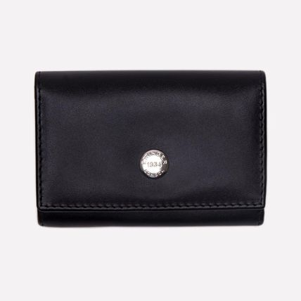 Unisex Street Style Bi-color Plain Leather Logo Coin Cases