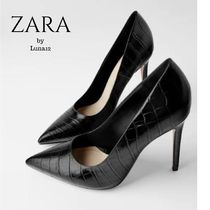 ZARA Casual Style Faux Fur Other Animal Patterns Pin Heels