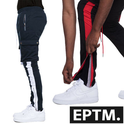 Tapered Pants Unisex Nylon Street Style Plain Cotton