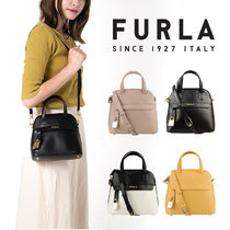 FURLA PIPER Casual Style Unisex 2WAY Bi-color Plain Leather Party Style