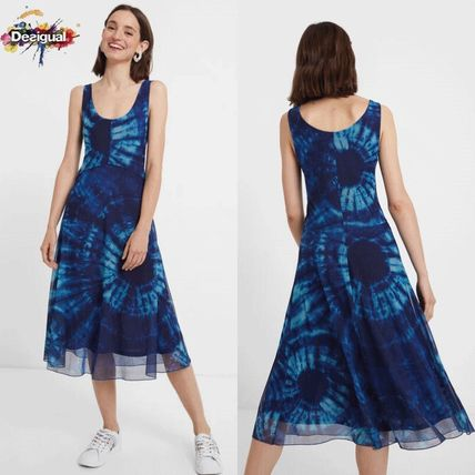 Casual Style Sleeveless Flared Tie-dye U-Neck Medium