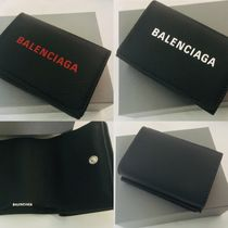BALENCIAGA EVERYDAY TOTE Unisex Calfskin Plain Leather Folding Wallet Small Wallet