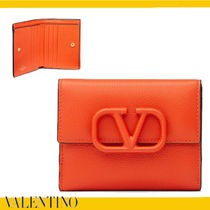 VALENTINO VRING Calfskin Plain Leather Folding Wallet Logo Folding Wallets