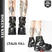DOLLS KILL Platform Mountain Boots Round Toe Street Style Plain