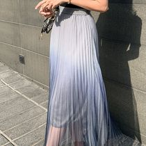 Flared Skirts Casual Style Maxi Pleated Skirts Plain Long
