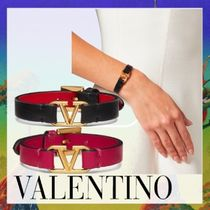 VALENTINO VLOGO Casual Style Blended Fabrics Leather Brass Bracelets