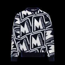 MONCLER Crew Neck Wool Long Sleeves Logo Sweaters