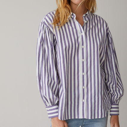 Short Stripes Casual Style Long Sleeves Cotton Party Style