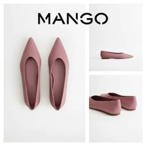 MANGO Rubber Sole Leather Elegant Style Pointed Toe Shoes