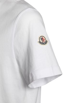 MONCLER Crew Neck Crew Neck Plain Cotton Short Sleeves Logos on the Sleeves 5