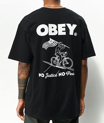 OBEY More T-Shirts Tropical Patterns Street Style Cotton Short Sleeves Logo