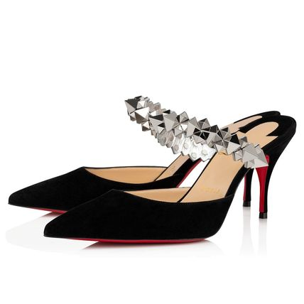Christian Louboutin Suede Studded Plain Pin Heels Mules Heeled Sandals