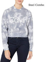 Calvin Klein Short Street Style Tie-dye Long Sleeves Cotton Logo Cropped