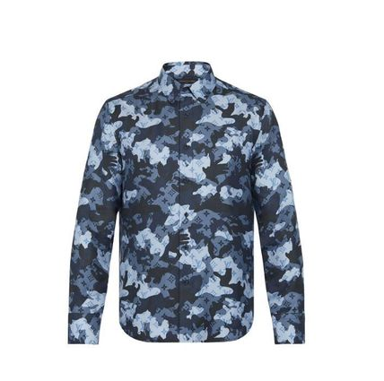Louis Vuitton Camouflage Silk Long Sleeves Luxury Shirts