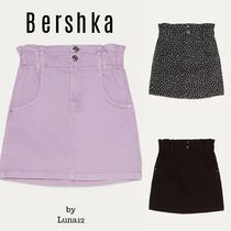 Bershka Short Dots Casual Style Denim Plain Cotton Skirts