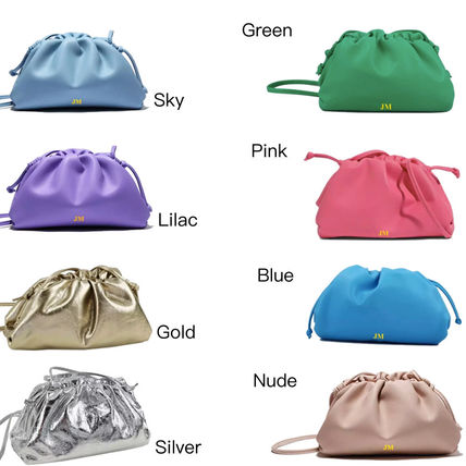 Casual Style 2WAY Plain Leather Purses Bucket Bags
