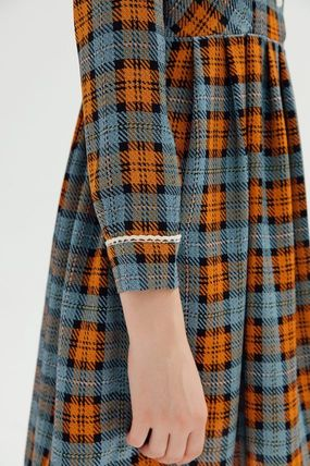 Short Tartan Casual Style A-line Flared Long Sleeves Dresses