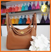 HERMES Lindy Casual Style A4 Plain Leather Office Style Elegant Style