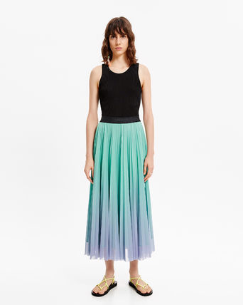 Casual Style Pleated Skirts Plain Medium Party Style