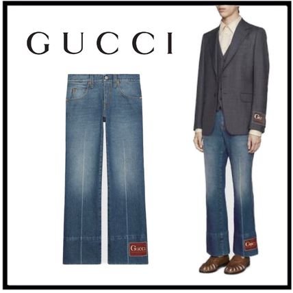 GUCCI More Jeans Marble Washed Denim Flare Pant